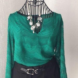 Tops - dark green blouse ELEGANT